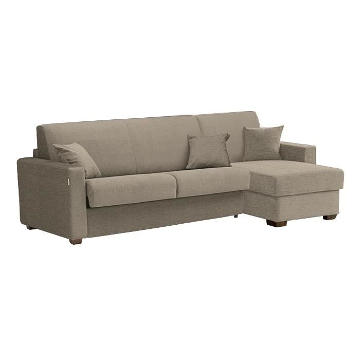 canap lit d 39 angle milano tissu taupe 120x190 achat vente canap sofa divan tissu. Black Bedroom Furniture Sets. Home Design Ideas