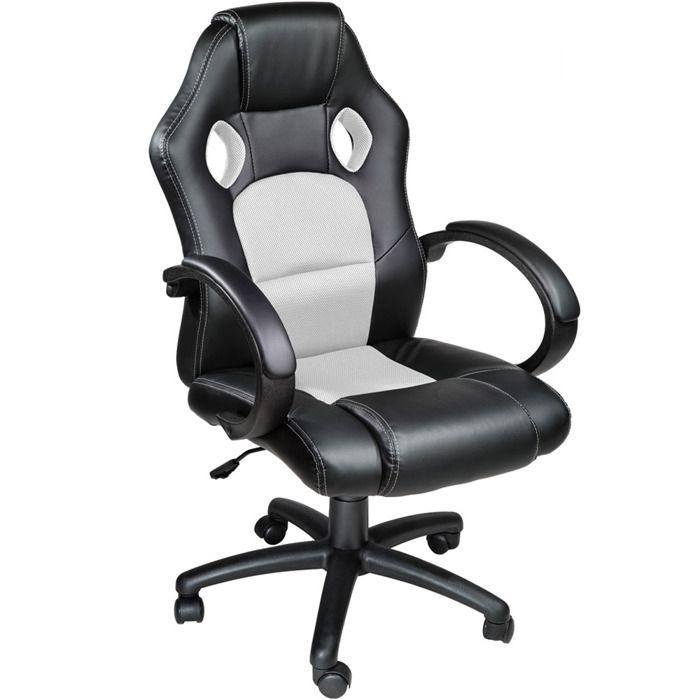 Chaise de bureau fauteuil de bureau racing sport noir - Fauteuil de bureau sport racing ...