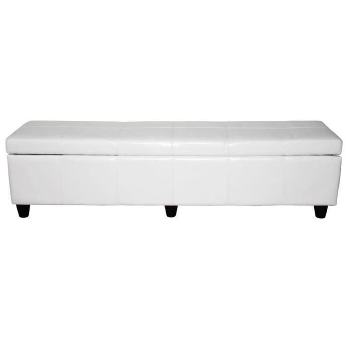 Banquette coffre de rangement blanc 180 cm achat vente banquette soldes - Banquette coffre blanc ...