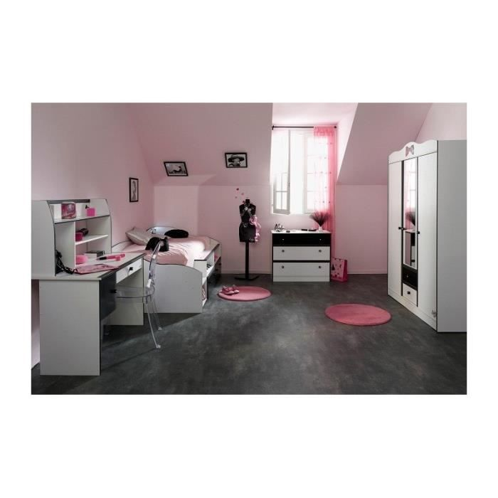 Chambre fille avec armoire 3 portes disco noire et blanche achat vente chambre compl te for Chambre filles blanche