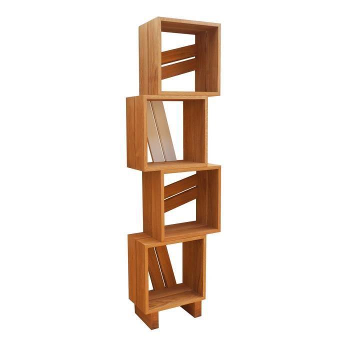 meuble biblioth que modulable 4 casiers bois et couleur blanc achat vente biblioth que. Black Bedroom Furniture Sets. Home Design Ideas