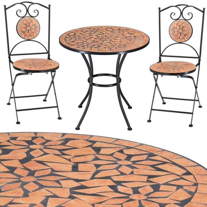 Salon de jardin mosaique roma 1 table 2 chaises achat for Salon de jardin mosaique