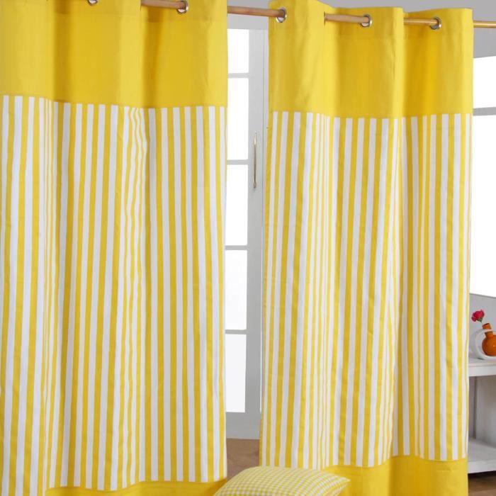 paire de rideaux oeillets rayures jaune 117 x 137 cm. Black Bedroom Furniture Sets. Home Design Ideas