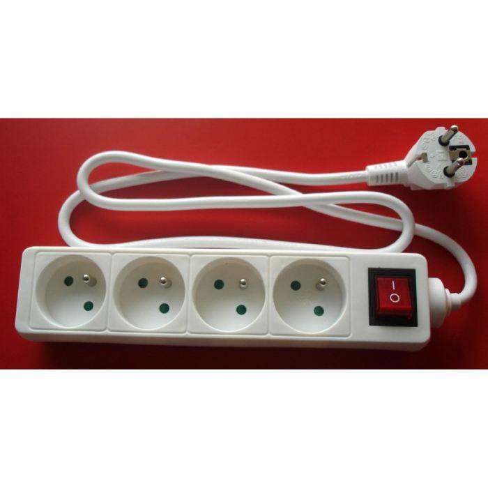 Bloc multiprise 4 prises 16a avec interrupteur blanc - Rallonge electrique multiprise ...