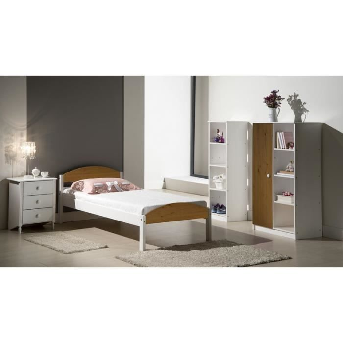 Chambre compl te pin massif blanche blanche meuble house for Chambre complete blanche