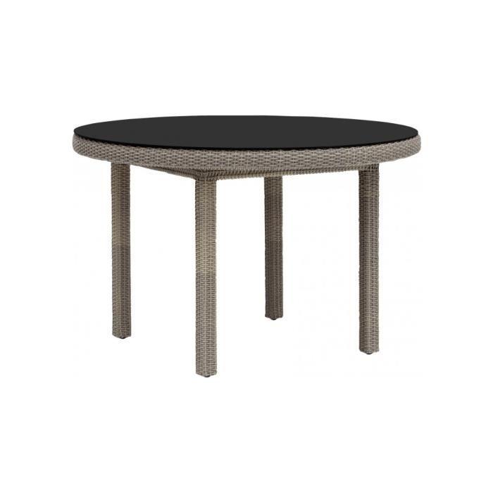 Table Ronde Aluminium Et R Sine Taupe Et Verre Noir Achat Vente Table De Jardin Table Ronde