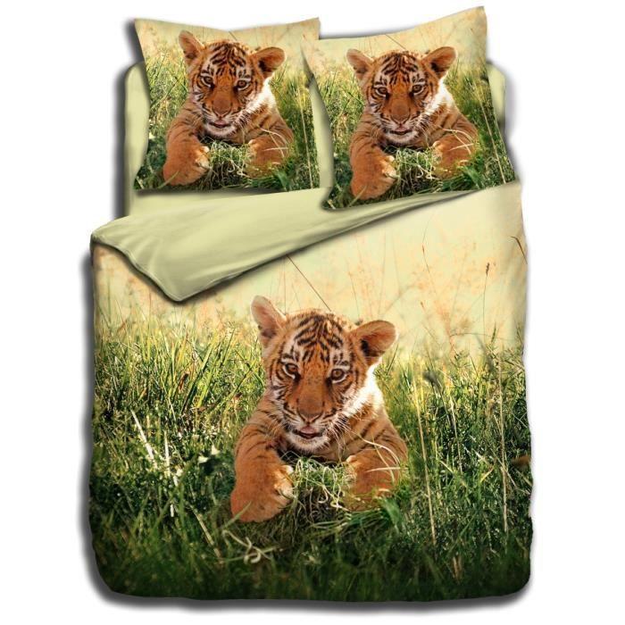 parure housse de couette 100 coton b b tigre 140 x 200 cm 1 taie d 39 oreiller 65 x 65 cm. Black Bedroom Furniture Sets. Home Design Ideas