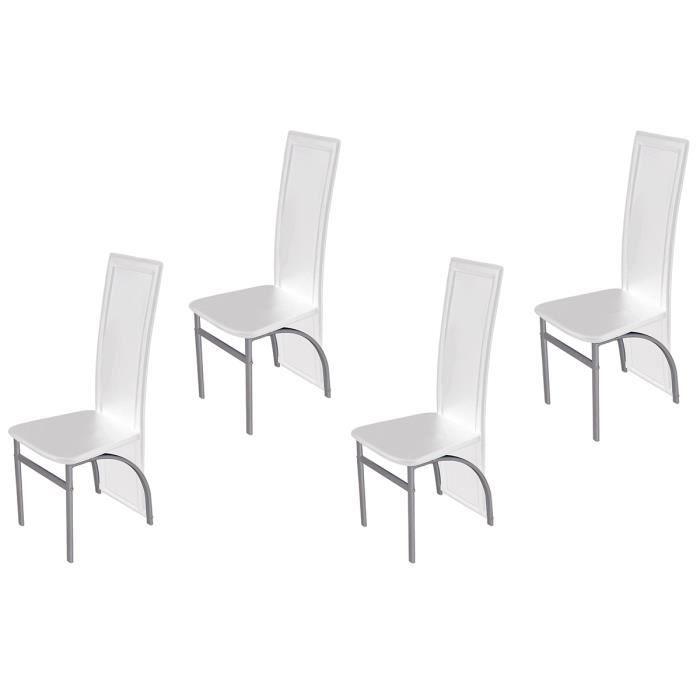 Lot de 4 chaises en pvc blanc sabre achat vente for Chaise longue blanc pvc