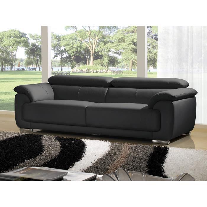 canap 233 3 places cuir haut de gamme noir marjorie achat vente canap 233 sofa divan cdiscount