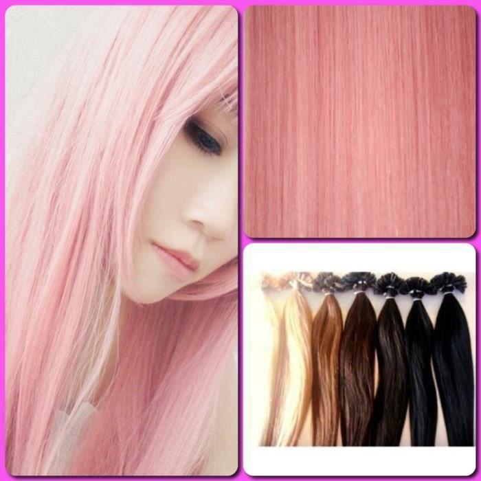 extensions de cheveux pose a chaud rose pale achat vente perruque postiche extensions de. Black Bedroom Furniture Sets. Home Design Ideas