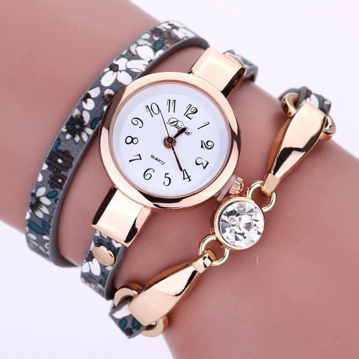 luxe de diamant longue bracelet en cuir montre mode l gante fleur d 39 or montre femme montre. Black Bedroom Furniture Sets. Home Design Ideas