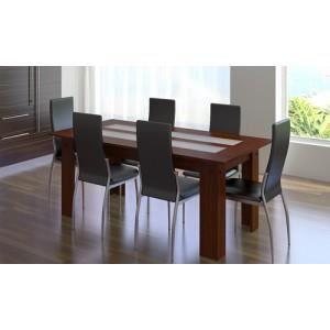 Ensemble de 6 chaises noires et une table en verre et bois - Ensemble table et 6 chaises ...