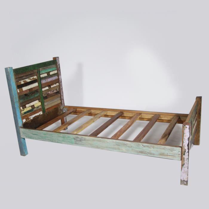 Lit 1 personne 90x190 en bois colores bois colore achat vente structure - Lit 1 personne 90x190 ...