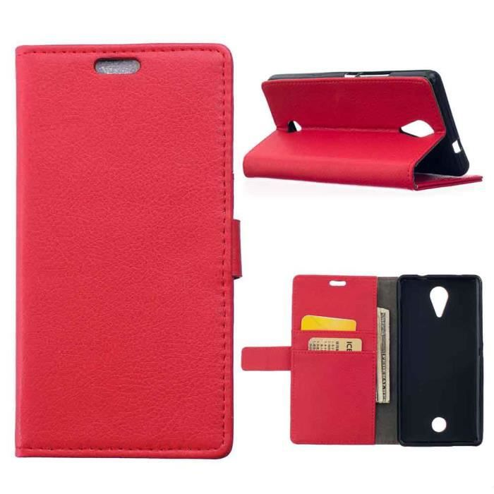 Msk pour wiko tommy luxe profil litchi rouge housse de for Housse wiko tommy 2