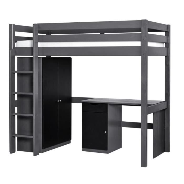 Set wood lit mezzanine armoire bureau gris achat - Lit mezzanine armoire bureau ...