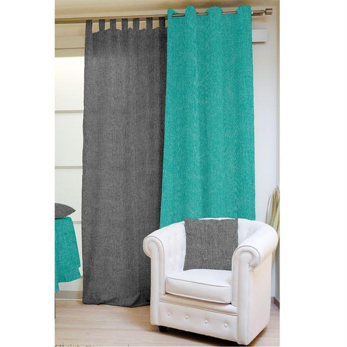 rideau turquoise et gris. Black Bedroom Furniture Sets. Home Design Ideas