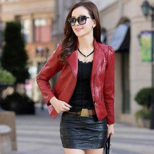 VESTE EOZY Veste Femme en Cuir Nouveauté Mode Rouge