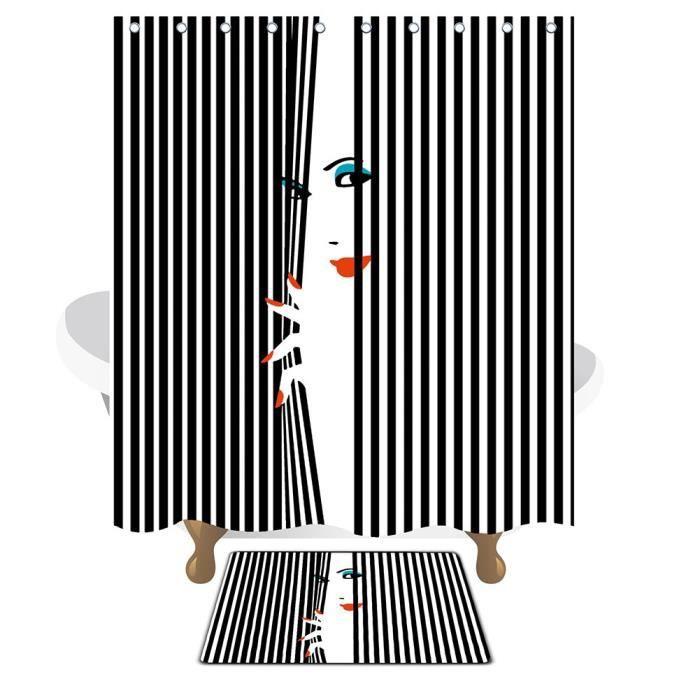rideau de douche imperm able l 39 eau avec mats et crochets. Black Bedroom Furniture Sets. Home Design Ideas