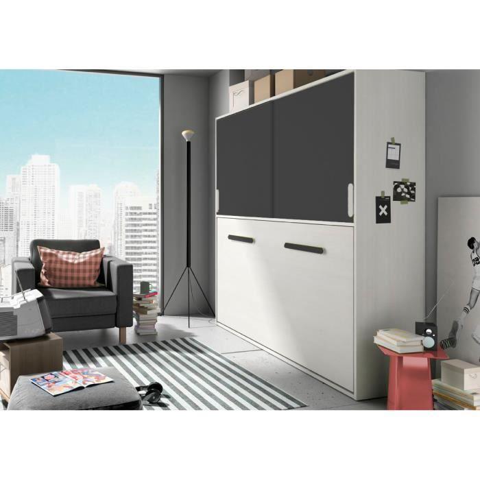 lit escamotable deco 307 blanc graphite achat vente. Black Bedroom Furniture Sets. Home Design Ideas