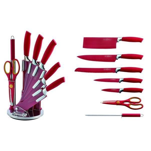 Set de couteaux rouge 8 pcs avec presentoir achat for Presentoir ustensile cuisine