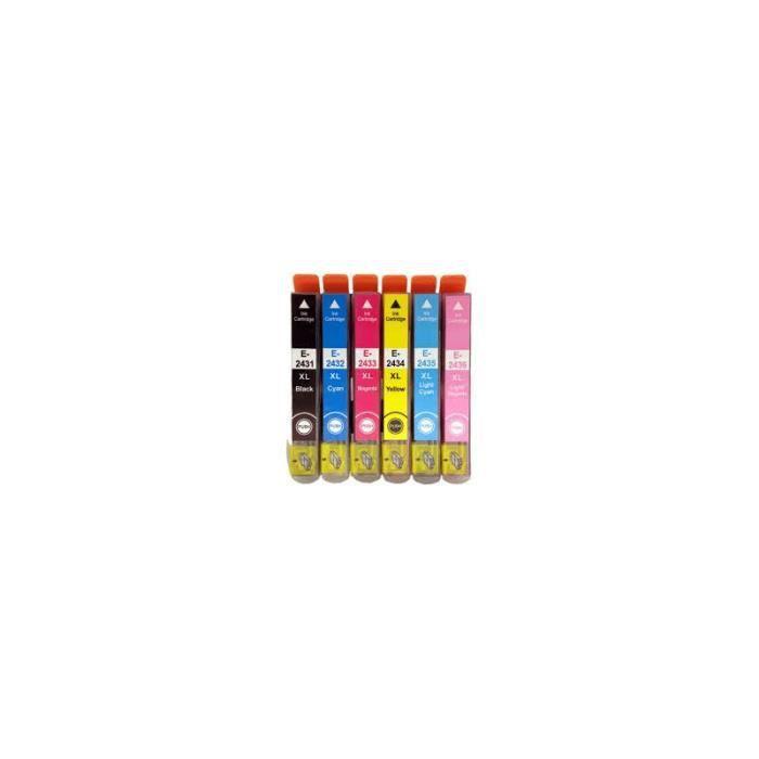 pack de 6 cartouches compatible epson t2438 xl prix pas cher cdiscount. Black Bedroom Furniture Sets. Home Design Ideas