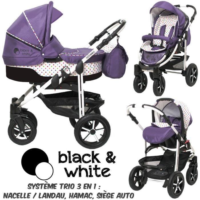 poussette trio 3 en 1 b w violet pois color s noir. Black Bedroom Furniture Sets. Home Design Ideas