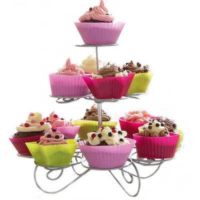 pr sentoir cupcakes 3 tages en m tal achat vente plat de service les soldes sur. Black Bedroom Furniture Sets. Home Design Ideas
