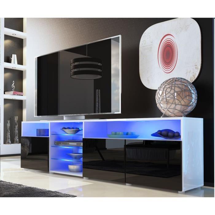 meuble tv blanc et noir avec tag re vitr e 194cm achat. Black Bedroom Furniture Sets. Home Design Ideas
