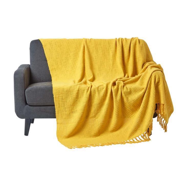 jet de lit ou de canap nirvana 100 coton jaune ocre 225 x 255 cm achat vente jet e de lit. Black Bedroom Furniture Sets. Home Design Ideas