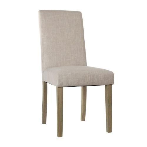 Lot de 2 chaises cleva beige achat vente chaise tissu for Habillage de chaise en tissus