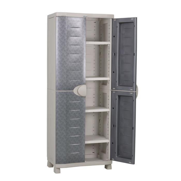 Plastiken armoire haute de rangement aspect m tal achat vente etabli me - Cdiscount armoire de rangement ...