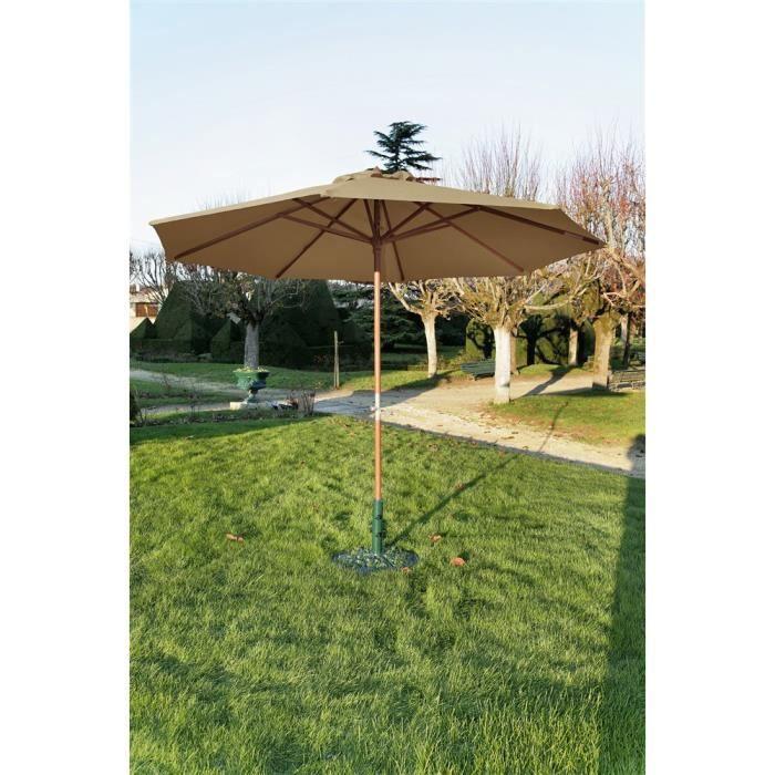 parasol en bois biarritz taupe diam tre 300c achat. Black Bedroom Furniture Sets. Home Design Ideas