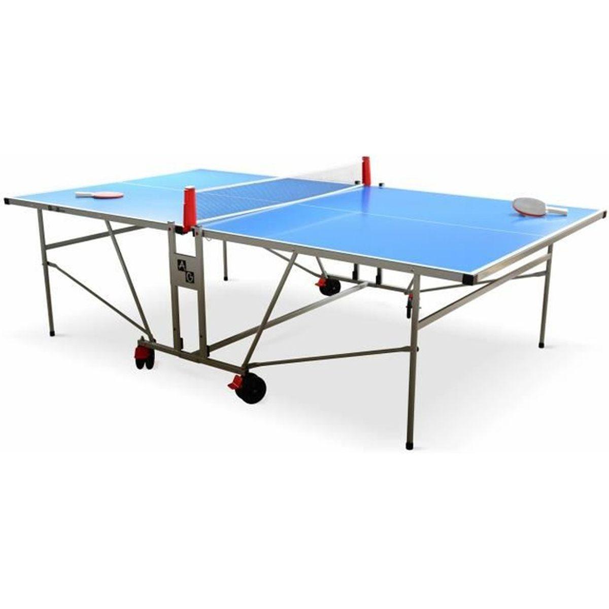 Table de ping pong outdoor bleue avec 2 raquettes et 3 - Table de ping pong pas cher decathlon ...