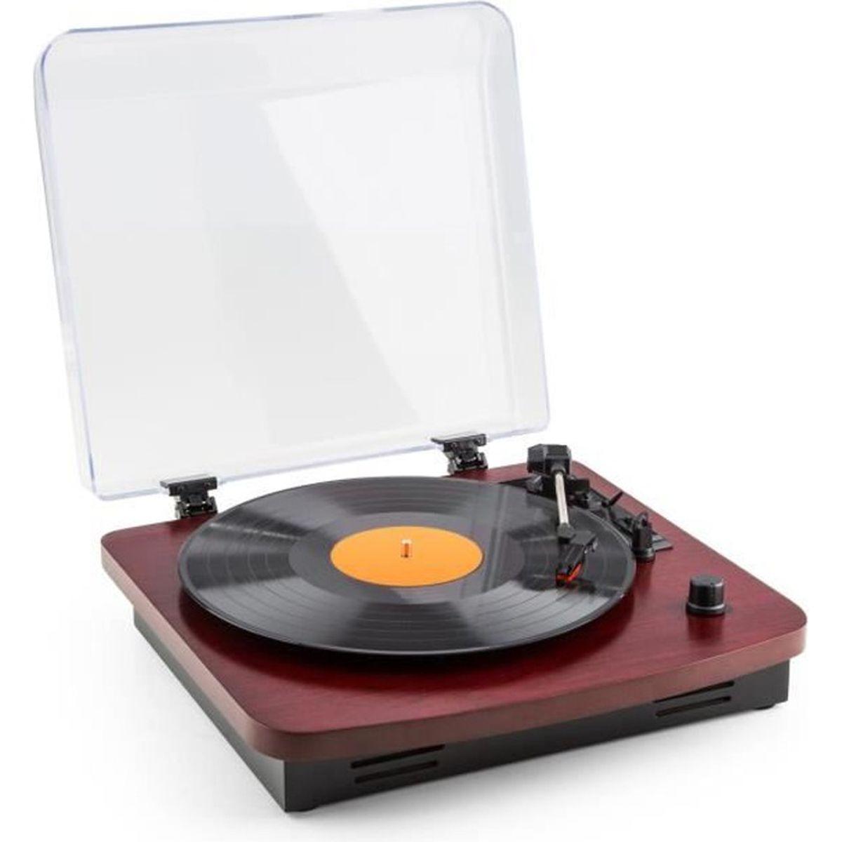 auna tt370 tourne disque platine vinyle r tro avec haut parleurs int gr s port usb pour. Black Bedroom Furniture Sets. Home Design Ideas