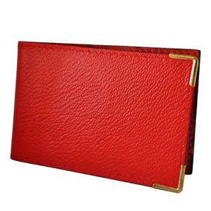 Porte carte en feuille de pochette plastique femme homme en cuir elyo rouge tu achat - Petites pochettes plastiques ...