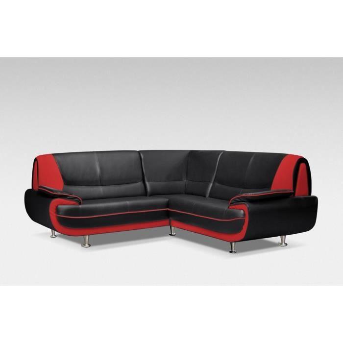 Canap d 39 angle design noir et rouge achat vente salon complet cadea - Canape d angle rouge et noir ...