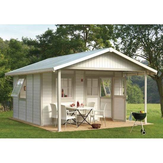 Maison de jardin deco m blanc gris vert achat for Achat decoration jardin