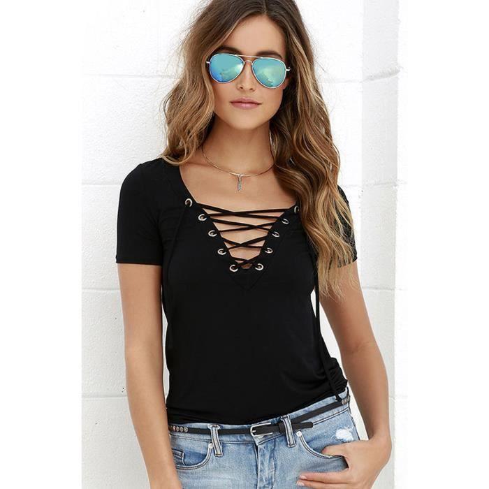 nouveau mode d 39 t femmes t shirt 2016 sexy col black achat vente t shirt cdiscount. Black Bedroom Furniture Sets. Home Design Ideas
