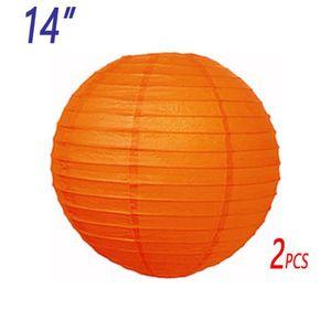 """LANTERNE FANTAISIE 2 x 14""""(35cm) orange lanterne de papier abat-jour"""
