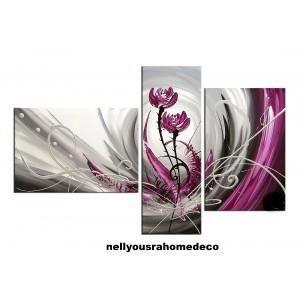 Tableau design summer noir gris rose violet 120cm achat for Tableau noir et rose