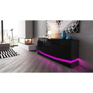 buffet noir laquer achat vente buffet noir laquer pas cher cdiscount. Black Bedroom Furniture Sets. Home Design Ideas
