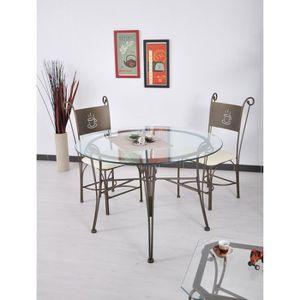 Table et chaises en fer forge achat vente table et for Table ronde en verre et fer forge