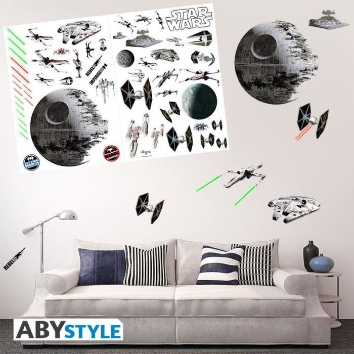 star wars stickers 100x70cm bataille spaciale achat. Black Bedroom Furniture Sets. Home Design Ideas