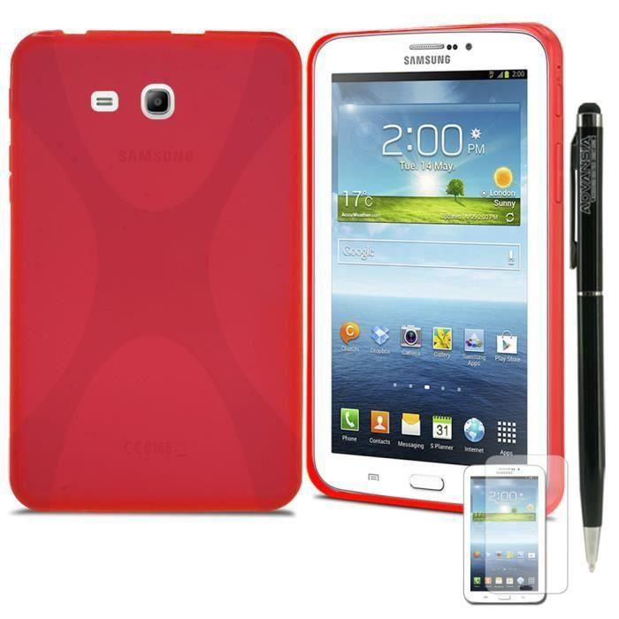 Housse etui samsung galaxy tab 3 t210 rouge prix pas for Housse tablette samsung