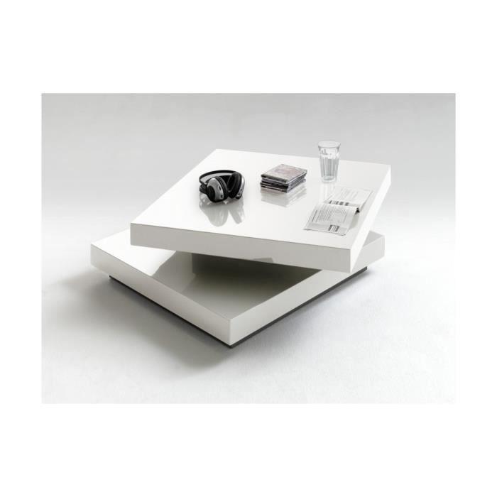 Table basse carr e pivotante blanc laqu margo blanc for Table basse carre laque blanc