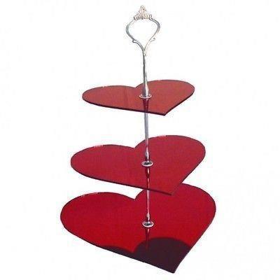 3 niveaux miroir rouge g teau stand de coeur grand for Miroir acrylique incassable