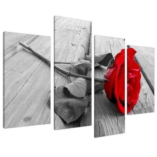 Impression tableau sur toile fleur rose rouge noir et for Tableau noir et rose
