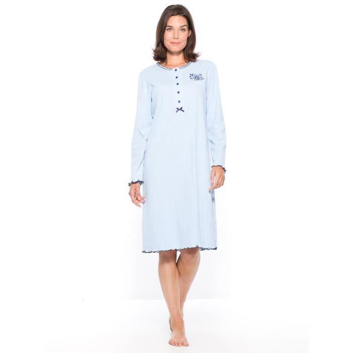 chemise de nuit courte manches longues femme bleu achat vente chemise de nuit cdiscount. Black Bedroom Furniture Sets. Home Design Ideas