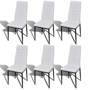 chaise magnifique 6 pcs chaise salle a manger blanc ligne