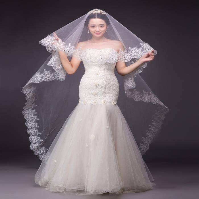 cath drale voiles de mariage dentelle 3 m tres de long voiles de mari e avec des cristaux strass. Black Bedroom Furniture Sets. Home Design Ideas